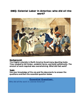 DBQ Colonial Labor in America: who did all the work?