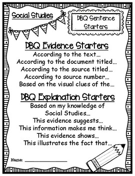 DBQ Document Based Questioning Elementary Social Studies Sentence Starters