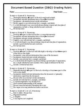 DBQ Essay Grading Rubric {English Version} - Editable!