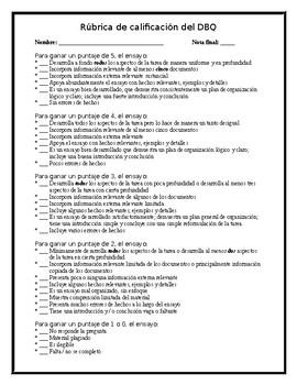 DBQ Essay Grading Rubric {Spanish Version} - Editable!