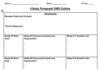 DBQ Essay Outline (3 Body Paragraph Version)