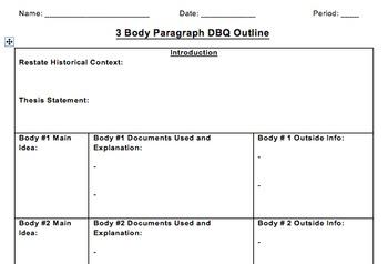 Dbq essay outline 3 body paragraph version by mcgrath s social studies