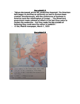 DBQ:  Great Depression-structure of loans to rebuild Europe after WWI collapse