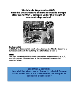 DBQ:  Great Depression-structure of loans to rebuild Europ