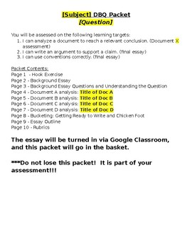 DBQ Packet Template and Teaching Instructions