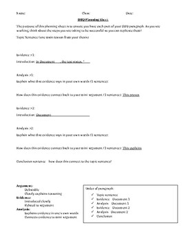 DBQ Paragraph Graphic Organizer