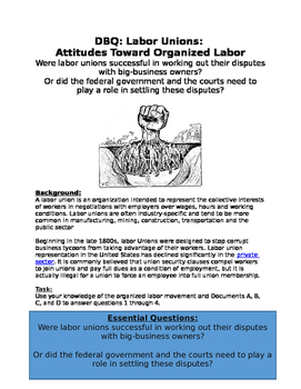 DBQ: Progressive Era Labor Unions: were labor unions successful?