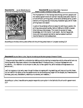DBQ - Reformation Causes and Effects