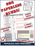 DBQ Evaluation Rubric - PAPERLESS and Printable! Marking D