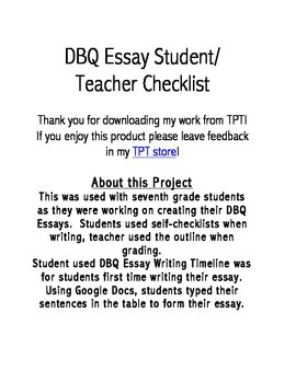 DBQ Student/Teacher Checklist and Outline