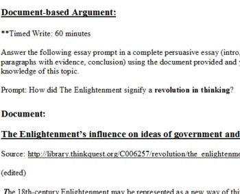 DBQ: The Enlightenment's influence