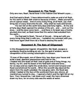 DBQ: The Flood Story: Jewish, Mesopotamian, Indus, & Other Comparisons