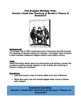 DBQ The Scopes Monkey Trial:Ban Teaching of Darwin's Theory of Evolution?