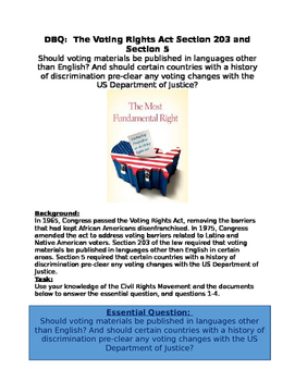 DBQ: Voting Rights Act- materials be in English? Debate Sections 203 and 5