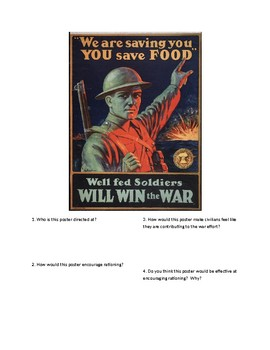 DBQ - WWI Propaganda: Well Fed Soldiers Win the War