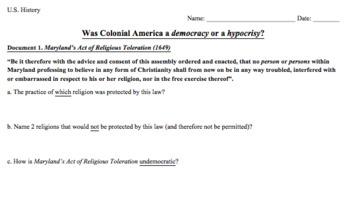 DBQ Assignment: Was Colonial America a democracy or a hypocrisy?