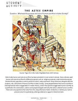 DBQ: What was the purpose and role of human sacrifice in Aztec society?