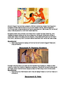 DBQ: Work & Play in Ancient Egypt- How does it compare to that of today!