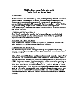 DBQ for Beginners: Entertainment (Taylor Swift vs. Kanye West)