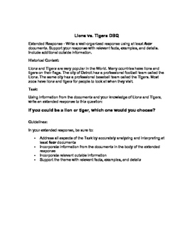 DBQ for Beginners: Tiger vs. Lion