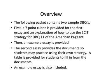 DBQ's United States History with Rubric, Strategies, and Example Essays