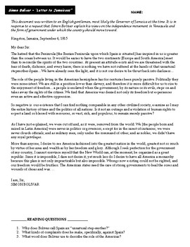 "DBQs: Simon Bolivar's ""Letter to Jamaicans"""