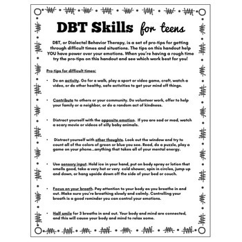 DBT Coping Skills Handout for Teens: Distress Tolerance