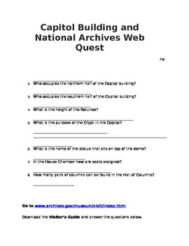 D.C. Web Quest - Capitol Building and National Archives