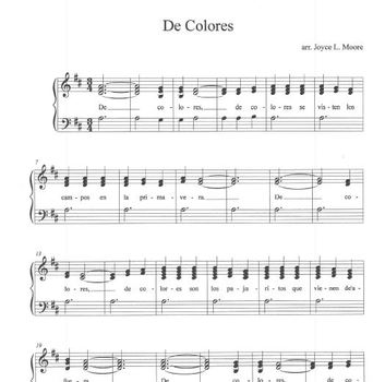 DE COLORES Easy Tone Chimes & Bells Arrangement