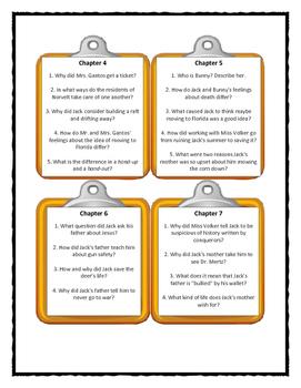 DEAD END IN NORVELT by Jack Gantos - Discussion Cards