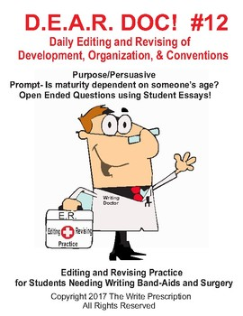 DEAR DOC #12  Daily Editing and Revising- Development Organization & Conventions