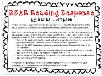 D.E.A.R. Reading Response - Common Core