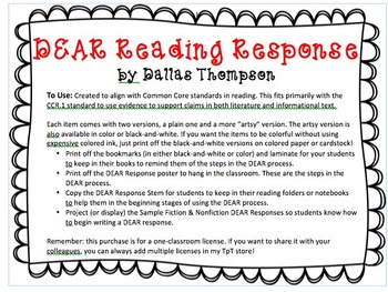 D.E.A.R. Reading Response - Common Core