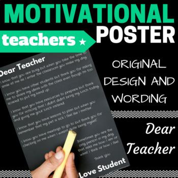 DEAR TEACHER -  Motivational Poster