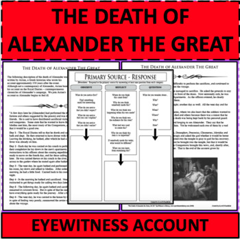 DEATH OF ALEXANDER THE GREAT Eyewitness Account PRIMARY SOURCE