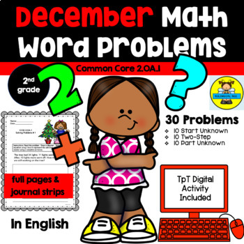 DECEMBER - 2ND GRADE MATH WORD PROBLEMS IN ENGLISH - CCSS 2.OA.1