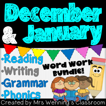 1st Grade DECEMBER/JANUARY Lesson Planner Bundle with Activities, and Word Work!