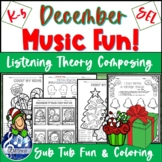 DECEMBER MUSIC Worksheets - Winter FUN Composing, Listenin
