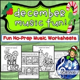 DECEMBER MUSIC Worksheets - Winter FUN Composing, Listening, Writing No Prep K-5