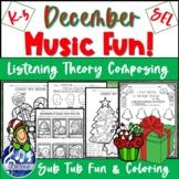 DECEMBER MUSIC Worksheets - Winter FUN Composing, Listening, Writing No Prep K-5
