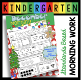 December Morning Work - Kindergarten Christmas Math and Reading - Homework