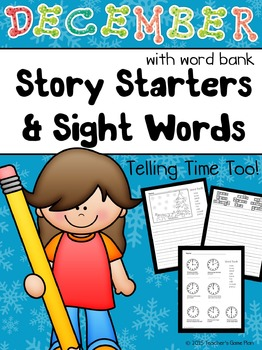 DECEMBER MATH & WRITING - Telling Time and Journal Prompts