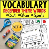 DECEMBER Vocabulary and Fine Motor MONTHLY Worksheets for Special Education