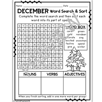 december word search and parts of speech sort by the world teacher. Black Bedroom Furniture Sets. Home Design Ideas