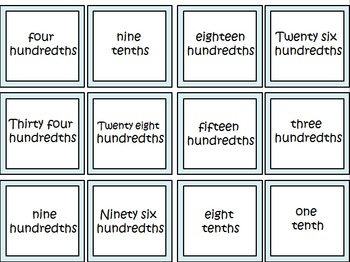 DECIMAL BINGO GAME- Tenths & Hundredths
