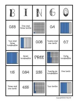 DECIMAL BINGO: Identify Decimals in Picture Models, Word Form, and Standard Form