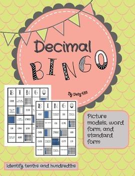 DECIMAL BINGO: Identify Decimals in Picture Models, Word F