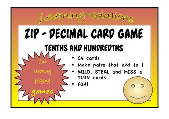 DECIMAL CARD GAME - Zip - Learning to distinguish between
