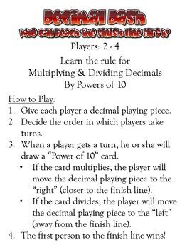 DECIMAL DASH GAME