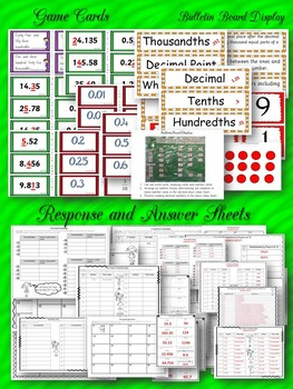 DECIMAL NUMBERS {300 TASK CARDS, 3 GAMES, BULLETIN BOARD DISPLAY} COMMON CORE